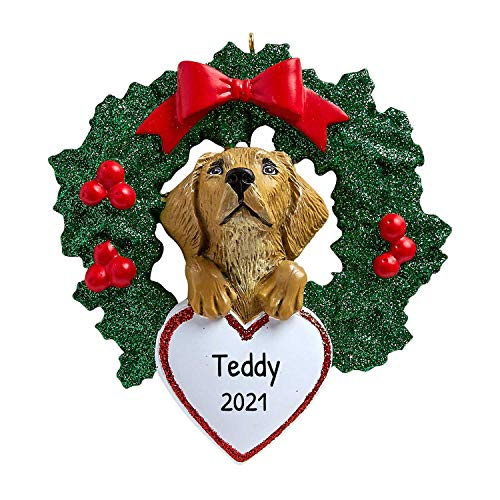 Personalized Yellow Lab with Wreath Christmas Tree Ornament 2020 - Labrador Retriever Dog Heart Paw Pure Love Eat Play Intelligent Smart Hunt Fur-Ever New Loyal Family R.I.P. - Free Customization