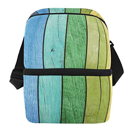Ice Pack Picknick draagbare schouderriem kleurrijk hout regenboogstrepen koelbox lunch tas houder