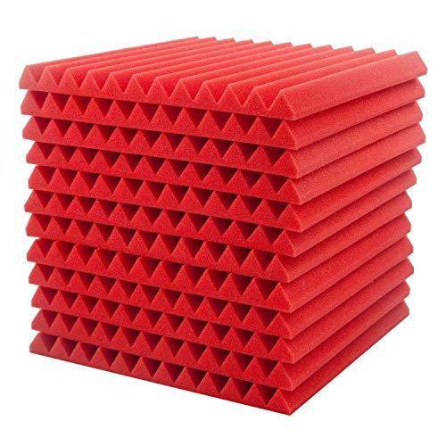 EisEyen, Pannello acustico fonoassorbente, isolante acustico in schiuma di polistirene, per onde sonore larghe, confezione da 12 pezzi (30 x 30 x 2,5 cm), colore: nero rosso blu giallo