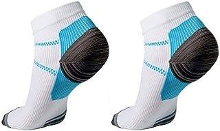 zrshygs 1 par de Hombres y Mujeres de Larga Distancia de Carrera de Fitness Transpirable Leggings Calcetines de compresión Fascitis Plantar compresión elástica Calcetines Cortos de Tobillo Blanco