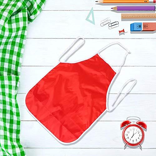 Oumefar Delantal Infantil Impermeable sin Mangas de 10 Piezas para Hornear para jardín de Infantes(Red)