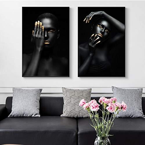 Posters en afdrukken canvas muurkunst schilderij donkerhuidige vrouw met gouden make-up foto's woonkamer wooncultuur frameloos schilderij