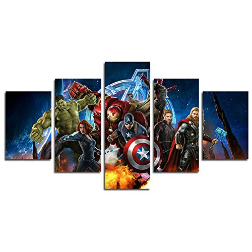 AtfArt 5 Piece NO Frame Miracle Avenger Ultron Super Hero Canvas Painting for Living Room Canvas Poster (No Frame) Unframed HB32 50 inch x30 inch