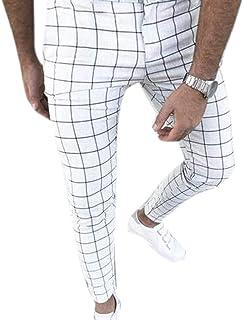 Pantaloni a Matita da Uomo a Quadretti Elasticizzati Eleganti alla Moda Urbani Pantaloni Confortevole e Morbido
