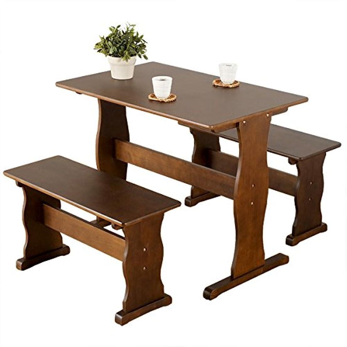主張する読みやすい暗黙家具の赤や 天然木パイン材 ダイニング3点セット 簡単組み立て シンプルデザイン (ブラウン)