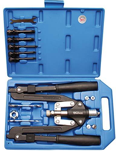 BGS 405 | Profi-Nietzangen-Satz | Langarm | 3,2 - 6,4 mm | für Alu- und Stahlnieten | Griffe umklappbar