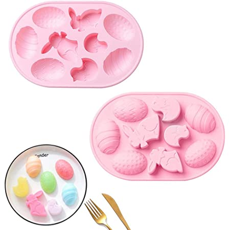 Molde de silicona para tartas con forma de huevo de Pascua, moldes de silicona para pascua Moldes para hornear conejito, ligero y duradero, molde de silicona para huevo de conejito de Pascua para gelatina de jabón de caramelo