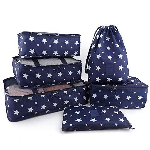 BeeViuc 6 Set Organizadores de Viaje para Maletas, Bolsas de Equipaje Impermeable Cubos Embalaje de Viaje Bolsas de Almacenamiento para Ropa Zapatos, Cosméticos Accesorios - AA