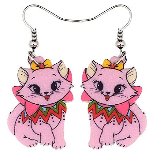 XAOQW Animal Acrylic Stud Dangle Drop Smile Cat Mascotas Grandes Pendientes Largos Noticias Joyería de Moda para Niñas Mujeres Adolescentes Anime Gift-Red