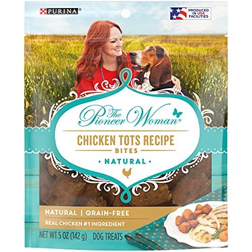 The Pioneer Woman Made in USA Instalaciones, Granos libres, golosinas naturales para perros, picaduras de pollo - 5 oz bolsas (paquete de 6)