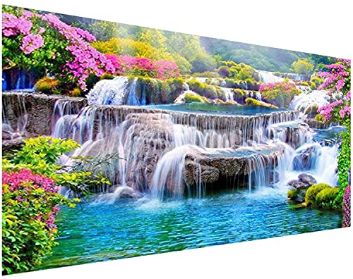 DIY 5D Diamond Painting Kits for Adults,eniref Large Diamond Painting Full Drill Round Diamond Dots Waterfall Scenery ,Diamond Art Kits for Adults Home Wall Decor 35.4x15.7inch