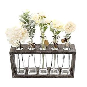 Silk Flower Arrangements FUNSOBA Rustic Vintage Hydroponic Flower Vases Set in Wooden Rack 5 Bottles (Type A 5 Vase Set)
