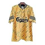 メンズレトロフットボールジャージー、95/96プレミアリーグジャージー、イエローフットボールジャージー、サポートのカスタマイズ M