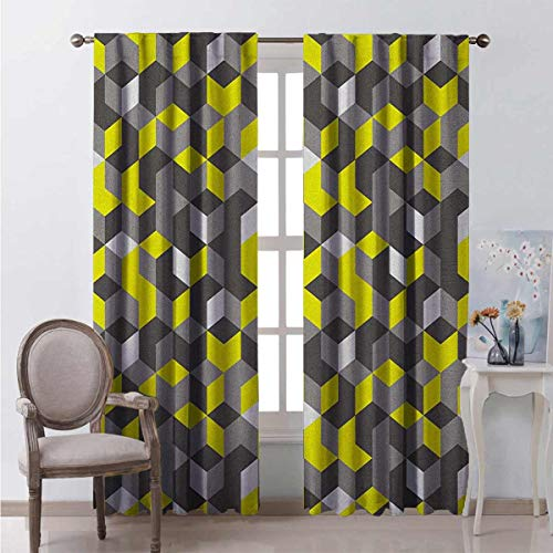 Toopeek Grey and Yellow Bedroom Rod Pocket Blackout Curtains 3D Print Inspired Modern Geometrical Boxes Cubes Image Living Room Color Curtains 2 Panels W84 x L84 Inch Mustard Yellow Black and White