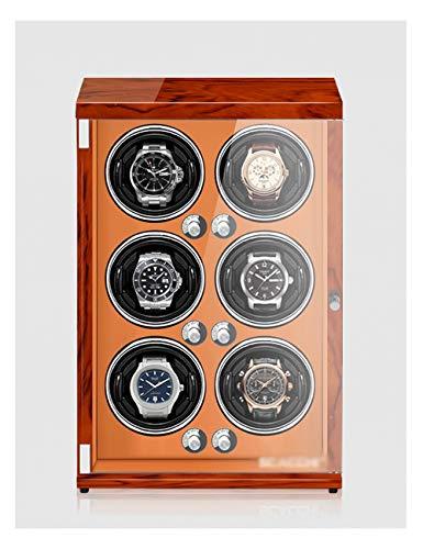 Kijk Winder voor 6 horloges, piano-verf, anti-magnetisch, ultra-rustig, kijkhaak met verticale wikkeling, inductie LED-licht (Color : Rosewood grain+brown, Grootte : For 6 watches)