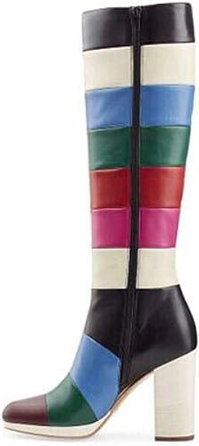 TYX-TT Bottes Longues Femme, Femme, Cuir Pointu Couture Bottes Chunky Fashion  livraison gratuite