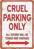 2個 残酷な駐車場のみ老朽化したスタイルの壁のドアの装飾金属錫サイン8X12インチ