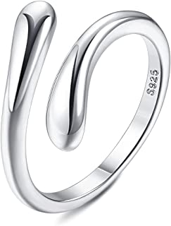 Milacolato 925 Sterling Silver Open Toe Rings for Women 18K White Gold Plated Arrow Heart Knot Infinity Link Adjustable Ba...