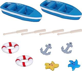 12pcs Mini Beach Style Miniature Ornament Kits for DIY Fairy Garden Dollhouse Decoration, Miniature Dollhouse Boat with Oa...