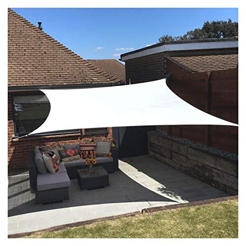 ZXD Vela De Sombra Respirable Bloque UV Rectángulo 160GSM Impermeable Poliéster Toldo con Protección Solar para Fiesta En El Patio del Jardín Al Aire Libre (Color : White, Size : 3x4m)