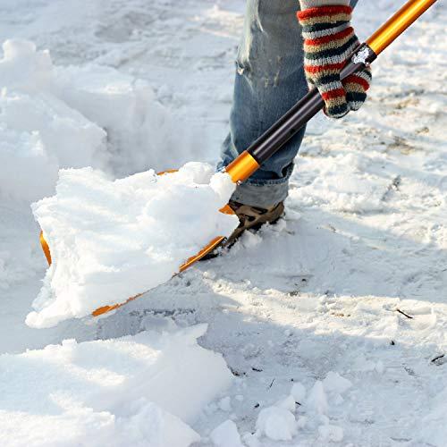Odoland Eiskratzer Auto mit Schneeräumer 2 IN 1 Aluminiumlegierung Schneeschaufel Auto 54/82cm Einziehbare Schaufel Abnehmbar Schneebesen Auto Eisschaber Idea für PKW LKW und SUV im Freien - 3