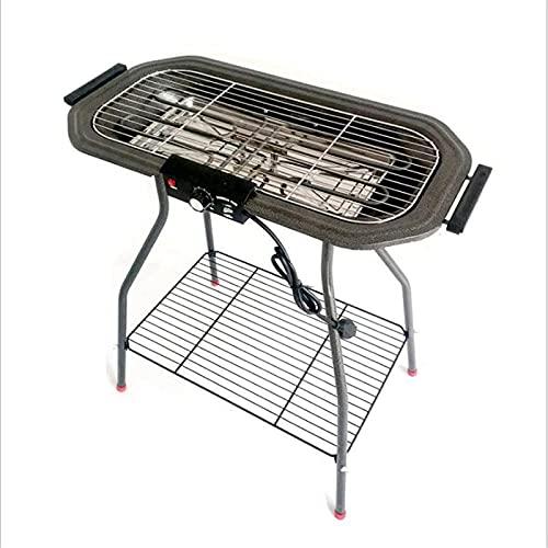 Barbacoa eléctrica, 2 en 1 Soporte de carbón eléctrico Grill 1800W Temperatura...