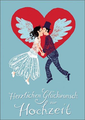 Anja Vogel Im 5er Set: Romantische Hochzeits Glückwunschkarte mit fliegendem Brautpaar: Herzlichen Glückwunsch zur Hochzeit