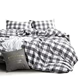 Wake In Cloud - Washed Cotton Duvet Cover Set, Buffalo Check Gingham Plaid Geometric Checker Pattern Printed in Gray Grey and White, 100% Cotton Bedding, with Zipper Closure (3pcs, Queen Size)