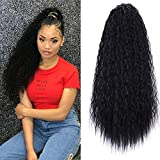22 Inch Long Curly Kinky Straight Wave Clip in Ponytail Drawstring for Black Woman Hair Extension High Puff Afro Natural Black Color