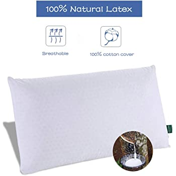 SWEESLEEP Medium Soft Natural Talalay Latex Foam Bed Pillow Eco-Friendly for Sleeping with 100% Cotton Zippered Cover, Standard Size (24 x16 x5 Inch)