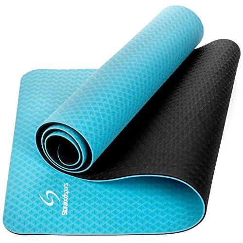 Starwood Sports TPE Yoga Mat 181 x 61 x 0,6 cm (6 mm de Grosor) - Texturizado, Antideslizante, Respetuoso con el Medio Ambiente, Esterilla de Pilates para Mujeres y Hombres (Azul Claro)
