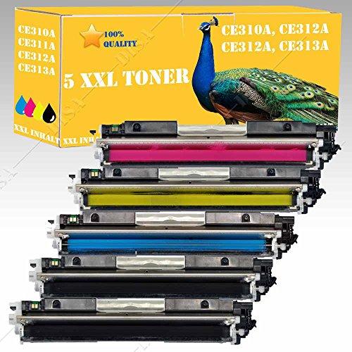 5x Cartucho Compatible con HP CE310A Negro Cian Amarillo Magenta HP LaserJet CP1025/Cp1025NW Color