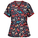 Tops de Mujer Uniforme de Trabajo Uniforme Estampado Camisa de Manga Corta Impresión de Dibujos Animados Top con Cuello en V