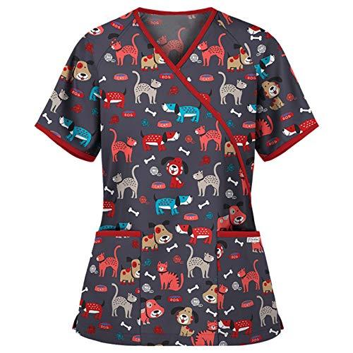 Casaca Ropa de Trabajo Mujer Bolsillos Uniformes Cuello Pico Mangas Cortas Uniformes Camiseta de Manga Corta con Estampado de Dibujos Animados con Cuello en V para Ropa de Trabajo