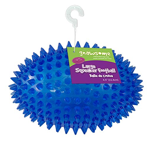 "Gnawsome 4.5"" Spiky Squeaker Football Dog Toy - Large, Cleans Teeth and Promotes Good Dental and Gum Health for Your Pet, Colors Will Vary"