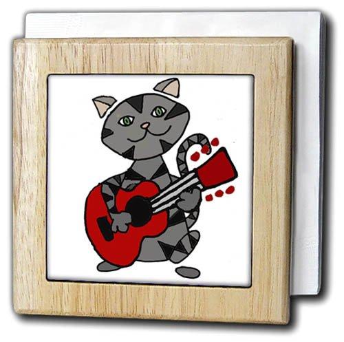 3D Rose Funny Cute Grey Tabby Cat Playing Guitar Cartoon Two Tone Ceramic mug
