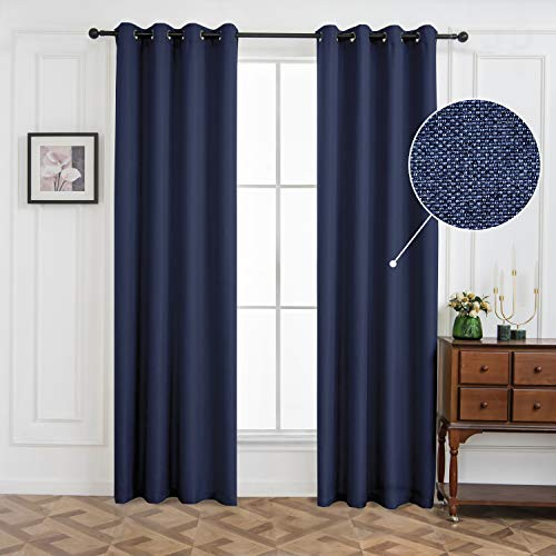 maxmill Blackout Curtains, Thermal Insulated Room Darkening Draperies, Grommets Window Treatment, Faux Linen Textured Heavy Weight Eyelet Curtain, Noise Reducing, Navy Blue, 52 x 63 Inches, 2 Pieces