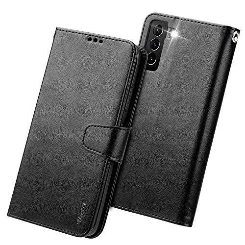 Migeec Funda de piel con tapa para Samsung Galaxy S21 2021, color negro
