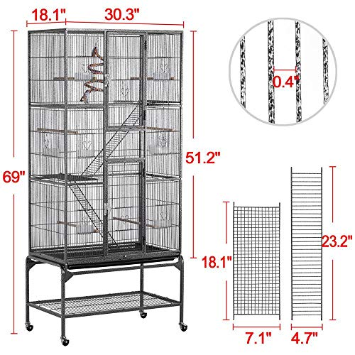 YAHEETECH 69-Inch Extra Large Wrought Iron 3 Levels Ferret Chinchilla Sugar Glider Squirrel Small Animal Cage with Cross Shelves and Ladders