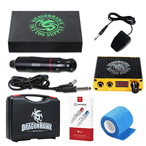Dragonhawk Cartridge Tattoo Machine Kit Pen Rotary Tattoo Machine Cartridge Needles Power Supply for Tattoo Artists...