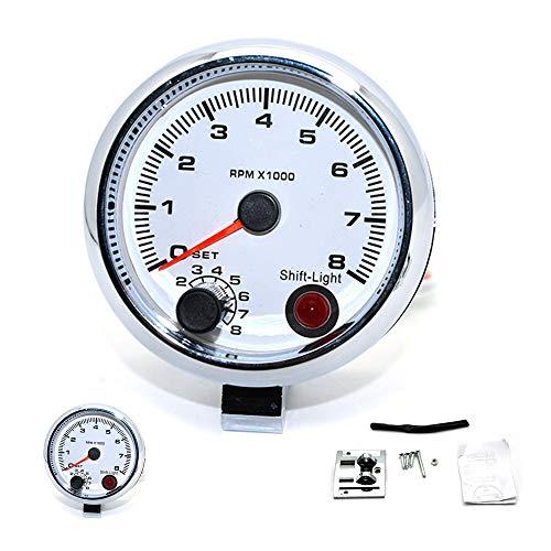 SIMNO JIAHONG tacómetro 3,75'Blanco Metro eléctrica tacómetro RPM 95 mm con la lámpara de Cambio Interno llanta 468 Chromium Cilindros