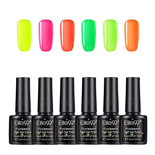 Elite99 Smalto per Unghie Set per manicure in Fluorescente Neon Luminoso Nail Soak off UV LED Romantico Gel Semipermanente per Unghie Manicure Arte Set Kit da10ml 6pzs YG005