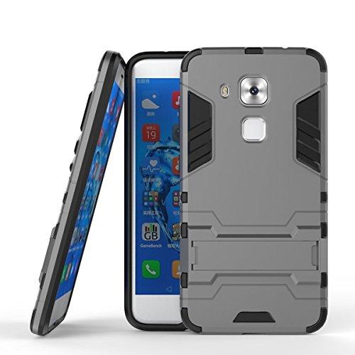 Huawei Nova Plus Funda, CHcase 2in1 Armadura Combinación A Prueba de Choques Heavy Duty Escudo Cáscara Dura PC + Suave TPU Silicona Rubber Case Cover con Soporte para Huawei Nova Plus -Gray
