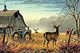 Deer Hunting Tractors Puzzle for Adults/Kids 1000 Piece of Large Snowy Night Winter Wonderland