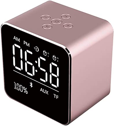 Altoparlanti portatili 2019 Square Mirror Mini Altoparlante Bluetooth Multifunzione Alarm Clock TF Card Cavo audio USB Display Wireless Speaker Multicolor (Color : Pink) - Trova i prezzi più bassi