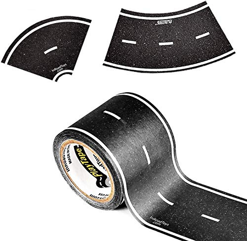 PlayTape 30x2 Inch Black Road Tape with 2 Inch Curve Rolls (1 Roll of Road Tape, 1 Roll of Curve Tape)