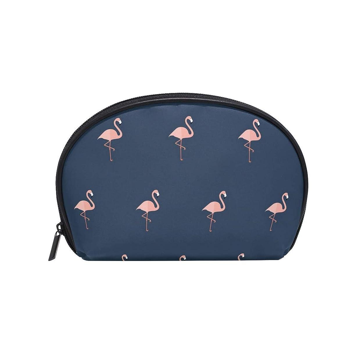 ルーム学んだインシュレータ半月型 フラミンゴ柄 鳥動物柄 ブルーピンク 化粧ポーチ コスメポーチ コスメバッグ メイクポーチ 大容量 旅行 小物入れ