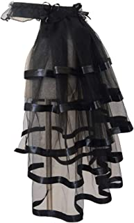 Tiered Tulle Bustle Tutu Underskirt Victorian Steampunk Layered Dancing Skirt Costume Black