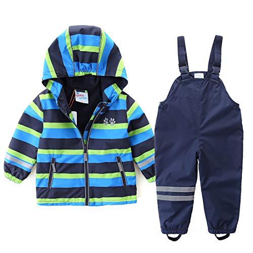 umkaumka Kinder Zweiteiliger Regenanzug für Jungen und Mädchen, wasserdichte Jacke mit Regenlatzhose, Matschanzug mit Kapuze Gr. 104 (3-4 Jahre)