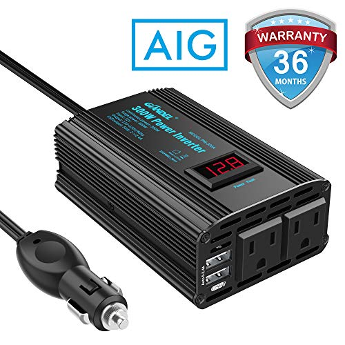 300W Power Inverter DC 12V to AC 120V Car Power Converter Adapter with 2x2.4A USB Ports and LED Display Dual AC Outlets